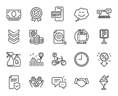Vector set of Handshake, Favorite and Insurance policy line icons set. Bicycle parking, Cleaning liquids and Roller coaster icons. Parking, Insurance medal and Shoulder strap signs. Vector