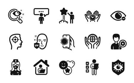 Vector set of Covid app, Vision test and Consulting business icons simple set. Voting ballot, Star and Organic tested icons. Uv protection, Recruitment and Support signs. Vector