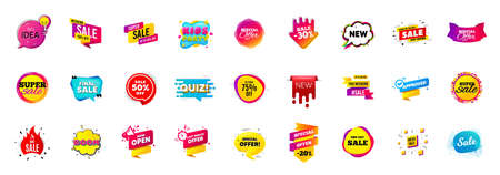 Best sale offer banners. Discounts price deal stickers. Special offer 3d bubble. Promotion sale tag coupons. Best discount deal sticker templates. Quiz bubble banner. Promotion Ad labels. Vector