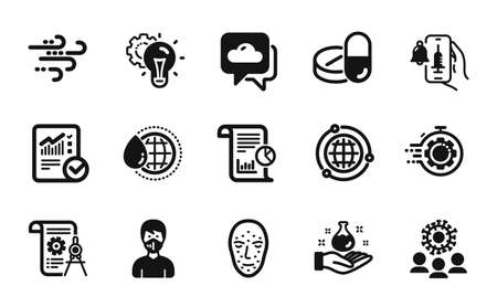 Vector set of World water, Vaccine announcement and Checked calculation icons simple set. Report, Globe and Divider document icons. Idea gear, Seo timer and Coronavirus signs. Vector