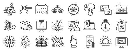 Set of Business icons, such as Music making, Calendar graph, Sports arena icons. Seo phone, Sunset, Anti-dandruff flakes signs. Click hand, Teamwork, Discount tags. Cardio training, E-mail. Vector