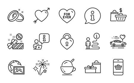 Holidays icons set. Included icon as Honeymoon travel, Ice cream, For ever signs. Sale, Fireworks, Wedding rings symbols. Gifts, Sale bags, Smartphone buying. Web photo, Love, Love lock. Vector