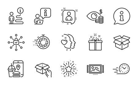 Business icons set. Included icon as Business vision, Developers chat, Seo timer signs. Twinkle star, Open box, Hold box symbols. Image carousel, Special offer, Fast delivery. Heart. Vector