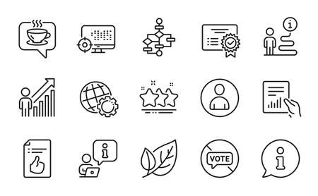 Business icons set. Included icon as Leaf, Stop voting, Certificate signs. Avatar, Approved document, Block diagram symbols. Globe, Document, Employee result. Seo, Stars, Coffee. Vector 矢量图像