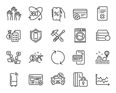 Vector set of Washing machine, Online shopping and Favorite line icons set. Online voting, Discounts app and Smartphone protection icons. Hammer tool, Full rotation and Refrigerator signs. Vector