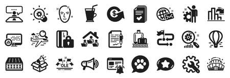 Set of Business icons, such as Interview job, Report statistics, Innovation icons. Coffee cup, Search flight, Agreement document signs. Health skin, Travel path, Ole chant. Blocked card. Vector