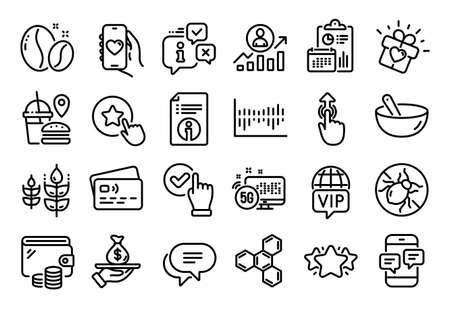 Vector set of Star, Vip internet and Loyalty star line icons set. Calendar report, Money wallet and Credit card tag. Dating app, Gluten free and Checkbox icons. Vector