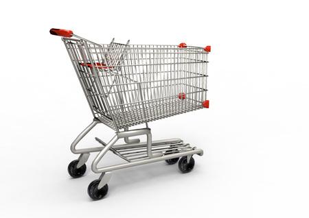 pushcart: Shopping cart on white background