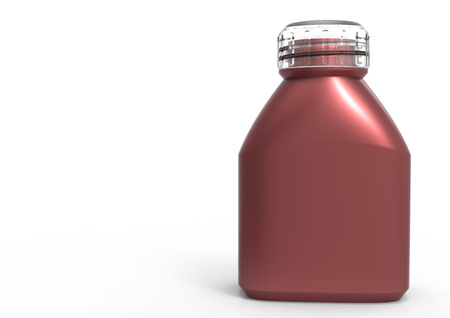 Glass bottle  isolate 3D colored Stock Photo