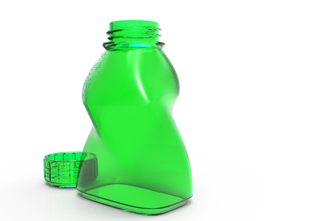 Glass bottle artistic isolate 3D colored Stock Photo