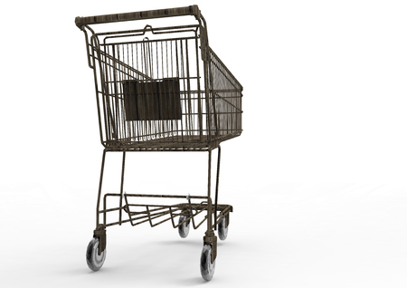 pushcart: Shopping cart with 3D render Stock Photo