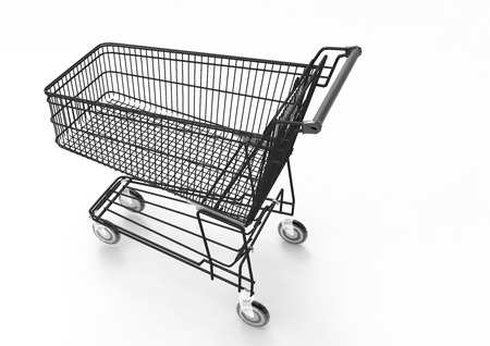 Shopping cart with 3D render Stock Photo