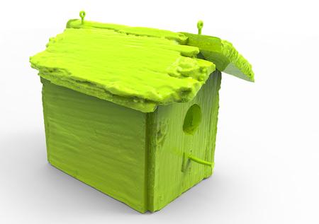 3D render isolate bird house  wooden house