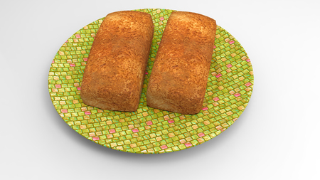 3D plate on bread render isolate
