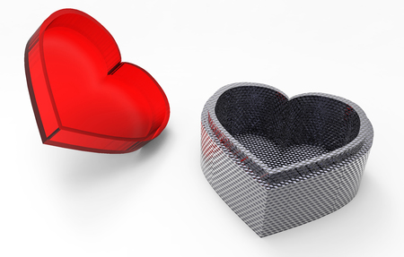 heart shaped: Heart shaped box with 3D render cover