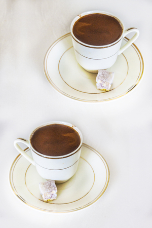 Turkish coffee and  delight background unit isolate