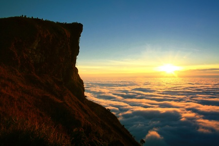 Sunrise with amazing cloud and peak in Thailand Stock Photo