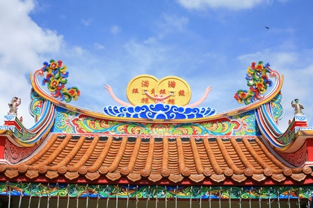 Colorful Chinese temple roof with clear sky