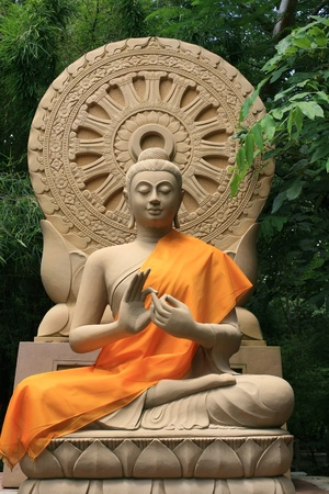 Stone Sculpture of Buddha with Hand Sign