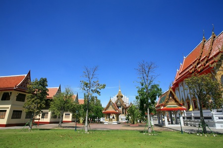 nonthaburi province: Ornament: beautiful architecture landscape of Bangphai temple with clear sky in Nonthaburi province, Thailand
