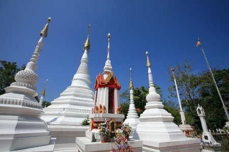 nonthaburi province: Ornament: Beautiful white pagodas of traditional Mon architecture style at Chomphuwek wat in Nonthaburi province, Thailand