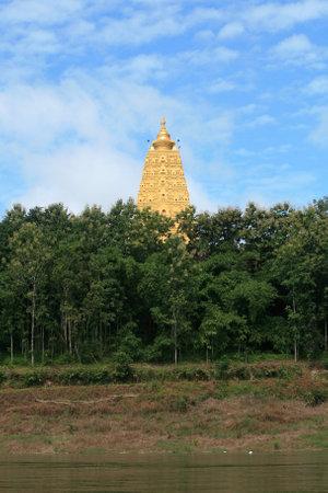 Ornament: beautiful landscape of gold Buddhagaya pagoda at Sangklaburi, Thailand  Stock Photo - 11805395