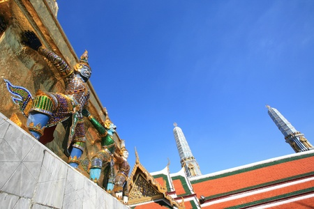 adhere: Ornament: hanumans adhere on gold pagoda at Wat Phra Kaew, Thailand