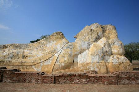 Ornament: back side of reclining big buddha statue in Ayutthaya, Thailand