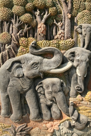 Ornament: beautiful art sculpture of elephants and nature environment photo