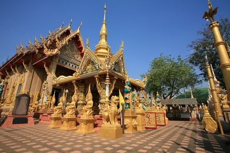 Ornament: beautiful architecture landscape of Wat Tai-Phra-Chao-Yai-Ong-Tue temple in Ubonratchathani Province, Thailand