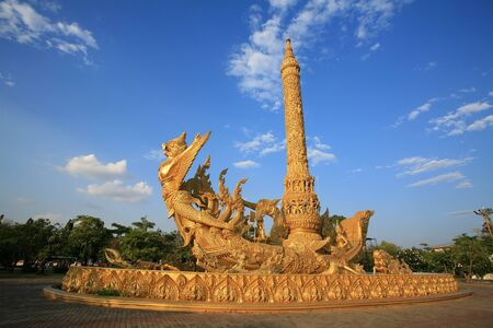 Ornament: side view of golden art sculpture at Tung Sri Muang park in Ubon Ratchathani province, Thailand Stock Photo - 12105365