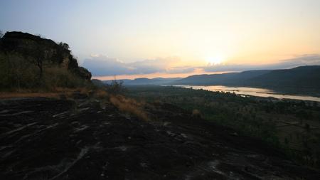 Natural sunrise scene at Pha Taem national park in Ubon Ratchathani province, Thailand Stock Photo