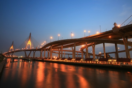 Bhumibol, aka Industrial Ring road, bridge before dusk in Bangkok, Thailand photo