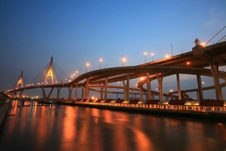 Bhumibol, aka Industrial Ring road, bridge before dusk in Bangkok, Thailand photo