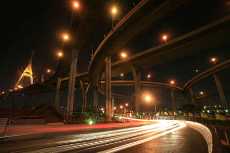 Transportation background: Bhumibol bridge landscape by long exposure  photo