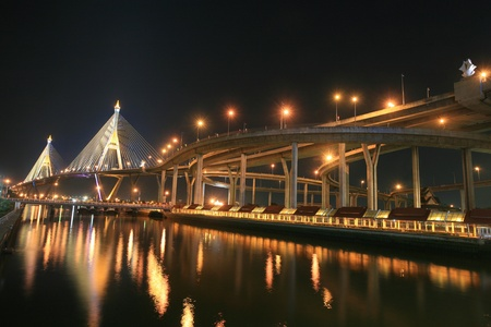 Night landscape of Bhumibol, aka Industrial Ring road, bridge in Bangkok, Thailand  photo