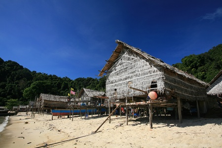 Travel background  Wooden houses in Morgan, sea Gypsie, village at Surin islands in in Phang-Nga, Thailand