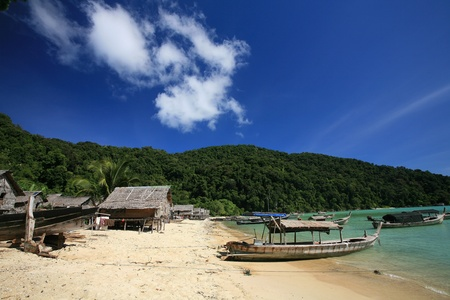 Travel background  Morgan, sea Gypsie, village near ocean and mountain at Surin islands in in Phang-Nga, Thailand