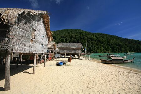 long tailed boat: Travel background  sea Gypsie, Morgan, village at Surin islands in Phang-Nga, Thailand Editorial