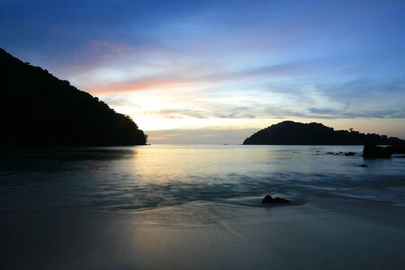 Silhouette background  long exposure scene of tropical coast during twilight at Surin islands national park, Thailand Stock Photo - 12858177