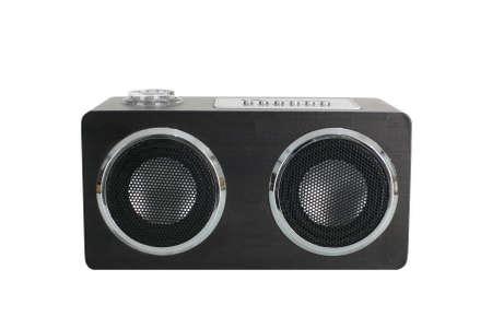 Mini black speaker isolated on white background