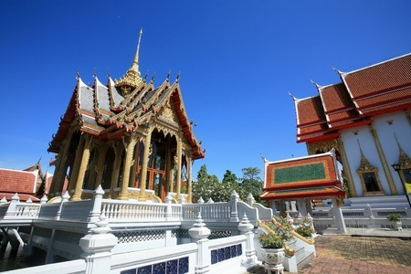 Ornament  shrine architecture landscape against blue sky of wat Bangphai in Nonthaburi province, Thailand Stock Photo - 13112499