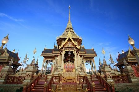 bejaratana: Ornament  front view of Royal funeral pyre for cremation ceremony of the HRH Princess Bejaratana Rajasuda, princess of Thailand