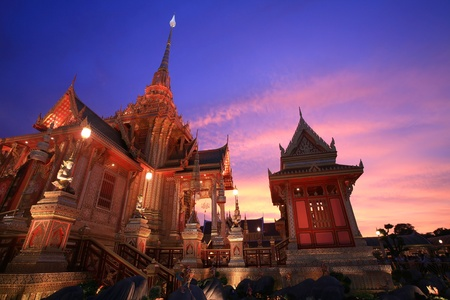 pyre: Ornament  architecture landscape at dusk of Royal funeral pyre for cremation ceremony on the HRH Princess Bejaratana Rajasuda, princess of Thailand