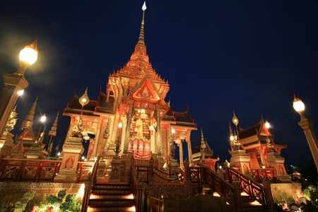bejaratana: Ornament  night landscape of crematorium for funeral ceremony of HRH Princess Bejaratana Rajasuda at Sanam Luang in Bangkok, Thailand Editorial