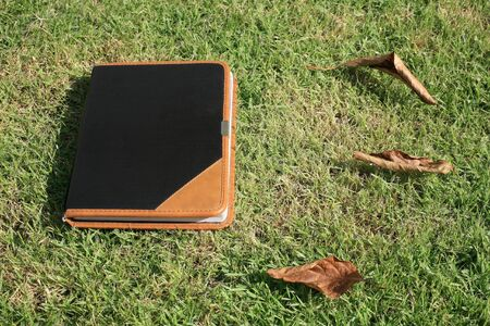 Old book covered by black and brown leather laying on green grasess with dry leaves Stock Photo - 13361962