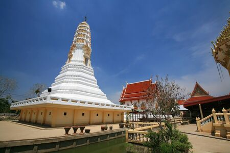 nonthaburi province: Ornament  white pagoda and buddhist shrine architecture at Wat Palelai in Nonthaburi province, Thailand