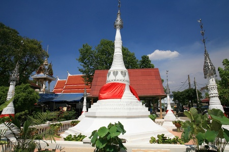 nonthaburi province: Ornament  Beautiful white pagodas with garden decoration at wat Bang Chak in Nonthaburi province, Thailand