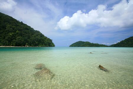 Transparent blue sea against blue sky at Surin islands national park, Thailand Stock Photo - 13975059