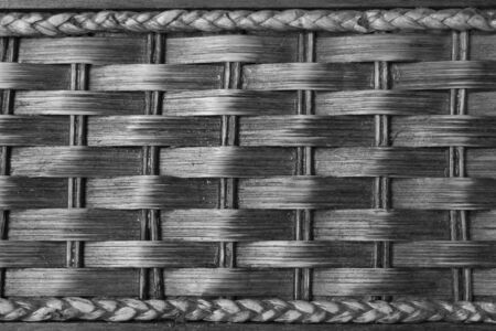 Black and white  closeup vintage brown wicker of the box photo